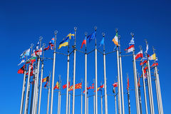 Flags of European countries. Against the blue sky royalty free stock image