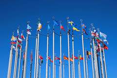 Flags of European countries. Against the blue sky Stock Photography