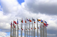 Flags of European countries. Against the cloudy sky royalty free stock images