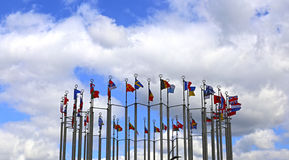 Flags of European countries. Against the cloudy sky royalty free stock photos