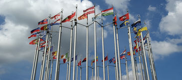 Flags of European countries. Against the sky stock images