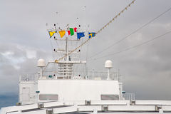 Flags of european countries on cruise liner Stock Image