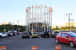 Flags of European countries on the Europe Square. Moscow royalty free stock photo
