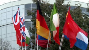 Flags of European countries on flagpoles windblown. stock video footage
