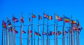 Flags of European countries stock photo