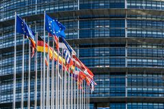 Flags of european countries. Waving in the courtyard of the Louise Weiss building, seat of the European Parliament located in Strasbourg, France stock images