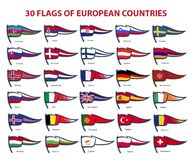 30 flags of european countries vector illustration