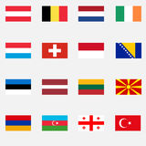 Flags of European countries Royalty Free Stock Photo