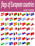 Flags of european countries flat icons vector illustration Stock Image