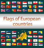Flags of European countries. Flags of European countries on a green background. Vector Graphics Royalty Free Stock Photo