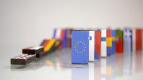 Flags of European Countries like a domino  falling down stock video