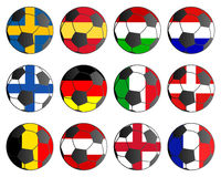 Flags of European countries and soccer ball Stock Photo