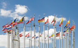 Flags of European countries. In the square of Europe in Moscow. Russia royalty free stock images