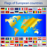 Flags of European countries. Vector Graphics. Golden continents on a blue background. Illustrations for infographics. Planet Earth. States of Europe Stock Images