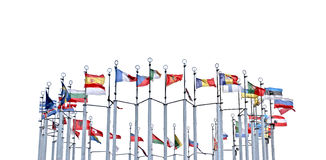 Flags of European countries. On a white background royalty free stock photo