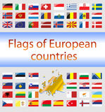 Flags of European countries. On a white background. Vector Graphics Stock Images