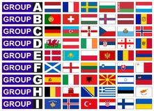 Flags of European  football group Stock Photos