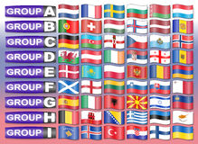 Flags of European  football group Royalty Free Stock Images