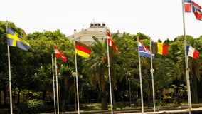 Flags of the Nations. Flags of the European Nations flying in a park in Spain stock video