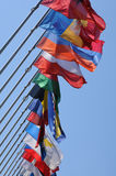 The flags of the European Parliament of Strasbourg Stock Images
