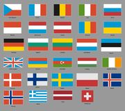 Flags of 29 european states Royalty Free Stock Images