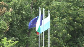 Flags of the European Union, Bulgaria, Pomorie on flagpoles Stock Photography