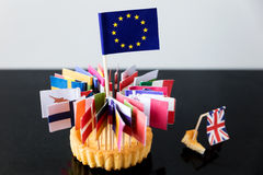 Flags of european union in a cake Royalty Free Stock Image