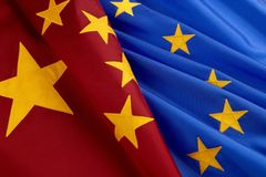 Flags of European Union and China. Chinese and European Union flags shot together, close-up Stock Photography