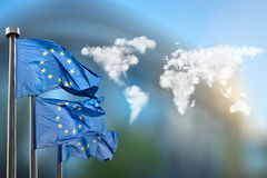 Flags of European Union with clouds map Royalty Free Stock Photography
