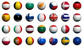 Flags of the European Union countries. 27 balls with the flags of the current (2008) member states of the European Union plus one ball with the European Union Stock Photography