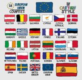 Flags of European Union Countries in Cartoon Style Royalty Free Stock Photography