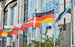 Flags of European Union countries at European Parliament in Brussels. Flags of European Union countries waving near modern European Parliament building in Stock Photo