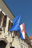Flags of European Union and Croatia. Banski dvori, the building of the Government of the Republic of Croatia with flags of European Union and Croatia. It was Stock Image