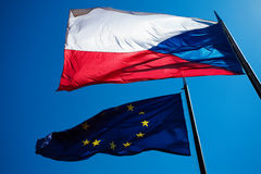 Flags of the European Union and the Czech Republic Royalty Free Stock Photo