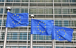 Flags of European Union at European Commission building in Brussels Royalty Free Stock Image