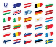 Flags of the european union. Vector illustration Royalty Free Stock Photography