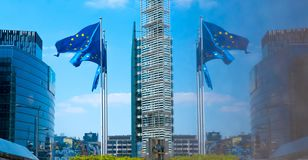 European flags outside EU headquarters in Brussels, Belgium. royalty free stock photos