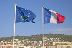 The flags of the European Union and of France, flying in France Royalty Free Stock Photography