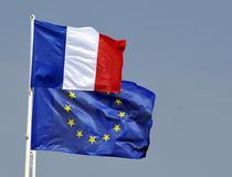 Flags of the European Union and France Royalty Free Stock Photography