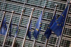 Flags of European Union. In front of European Commission Stock Photography