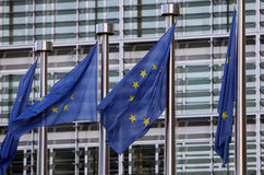 Flags of European Union. In front of European Commission Stock Images
