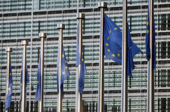 Flags of European Union. In front of European Commission Royalty Free Stock Image