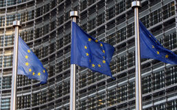 Flags of European Union. In front of European Commission Stock Photos
