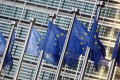 Flags of European Union. In front of European Commission Stock Photo