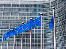 Flags of European Union. In front of European Commission in Brussels, Belgium Stock Image