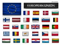 Flags of European Union and members . Wavy design . Isolated background Stock Images
