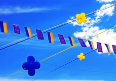 Flags of European Union and Ukraine, balloons Stock Image