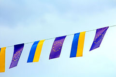 Flags of European Union and Ukraine Royalty Free Stock Photo