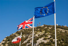 Flags of the European Union, United Kingdom. And Gibraltar Stock Photos