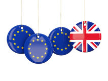 Flags of European Union and United Kingdom. Brexit concept Stock Photo